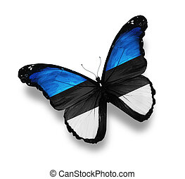 Estonian flag butterfly, isolated on white