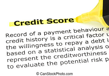 Credit Score highlighted in yellow - Definition of Credit...