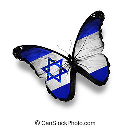 Israeli flag butterfly, isolated on white