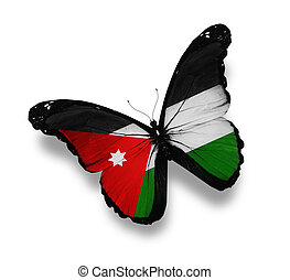Jordanian flag butterfly, isolated on white