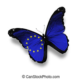 Flag of European Union butterfly, isolated on white