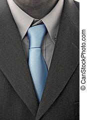 detalle, empresa / negocio, hombre, Traje, azul, corbata