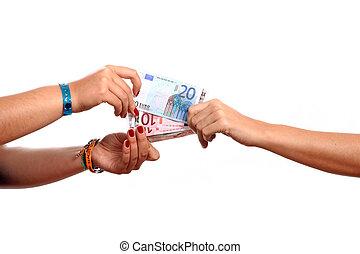 hands width cash on white