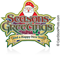 Seasons Greetings Santa - Seasons Greetings Lettering with...