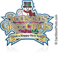 Seasons Greetings Snowman - Seasons Greetings Lettering with...