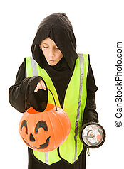 Halloween Fun and Safety - Adorable little boy on halloween...