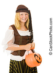 Halloween Pirate Girl - Beautiful blond girl dressed as a...