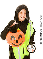 Trick Or Treating Safely - Adorable little boy in his...