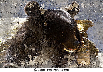 Artistic image with background texture bear head