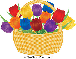 Easter Basket with Colorful Tulips Illustration