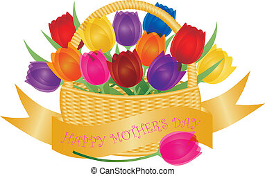 Mothers Day Basket with Colorful Tulips Illustration - Happy...