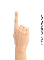Woman hand showing forefinger up. Number one sign in a white...