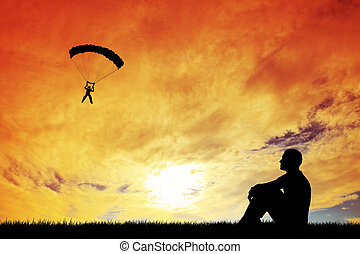 skydiving - Sky Diver with parachute