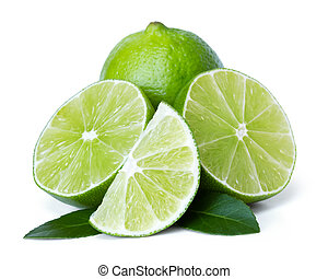 lime over white background