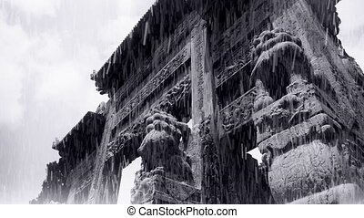 China stone arch building & ancient city gate.movement of...