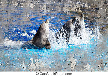 Artistic image with background texture dolphins