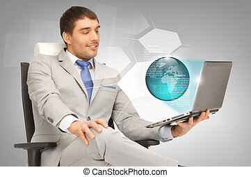 businessman with laptop and virtual screens - picture of...