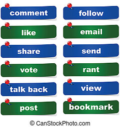 Social media buttons - Collection of green and blue social...