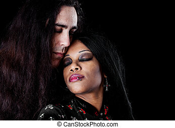 Intimate interracial couple - Intimate portrait of a...
