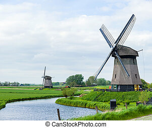 Dutch windmill. Netherlands - Panorama of the traditional...
