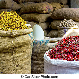 Colorful spices in Bangladesh - Colorful spice market in Old...
