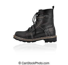 army boots - Closeup view of army boots isolated on white...