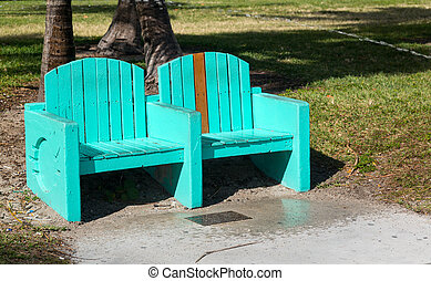 Green turquoise street bench in Miami beach - Pair of...