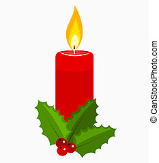 Christmas candle and holly berry Vector illustration