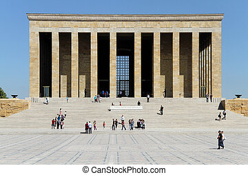 Ataturk mausoleum - Tourists and Ataturk mausoleum in...