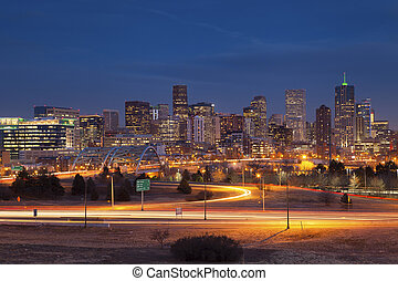 Denver Skyline - Image of Denver Skyline and busy highway in...