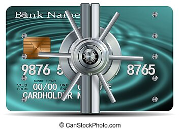 Credit card security - A credit card with a vault locking...