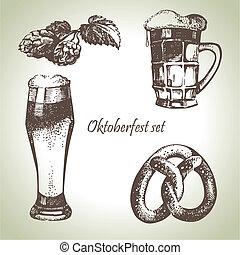 Oktoberfest set of beer, hops and pretzel. Hand drawn...