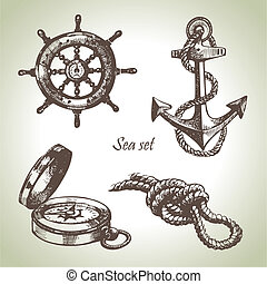 Sea set of nautical design elements. Hand drawn...