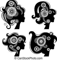 Beautiful women silhouettes