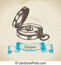 Mariners compass Hand drawn illustration