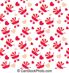 Seamless baby carriages pattern. vector background