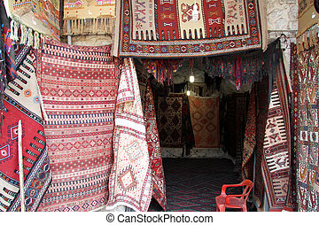 Turkish carpets in the souvenir shop in Hasankeif, turkey