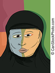 Abstract Muslim Woman - Abstract portrait of serious Muslim...