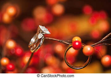 Wedding bands with red background - A close-up shot of a...