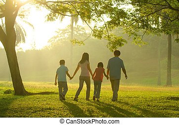 family outdoor quality time enjoyment, asian people...