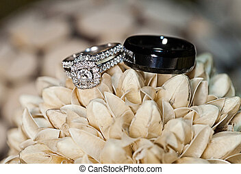 Luxury Wedding Bands - A close-up shot of a set of wedding...