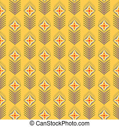 geometrical seamles vector pattern with flowers on yellow...