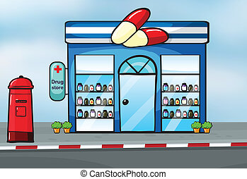 a drug store - illustration of a drug store near a street