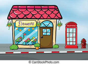 A flower shop and a callbox - Illustration of a flower shop...