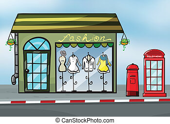 A fashion store and a callbox - Illustration of a fashion...
