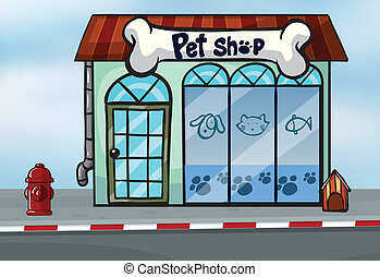 A pet shop - Illustration of a pet shop near a street