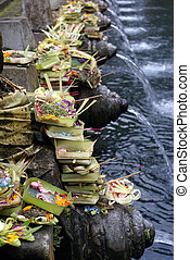 Shrine in pool - Shrine on the pool in Tirta Empul, bali,...