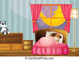 A sleeping girl - illustration of a sleeping girl in her...