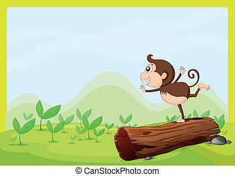 A monkey dancing on wood