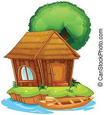 A house on an island - Illustration of a house on an island...